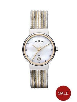 skagen-ancher-two-tone-striped-mesh-ladies-watch