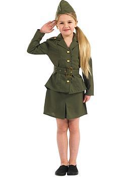 Girls Ww2 Army Girl  Child Costume