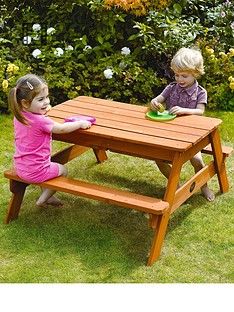 plum-surface-sand-water-wooden-picnic-table