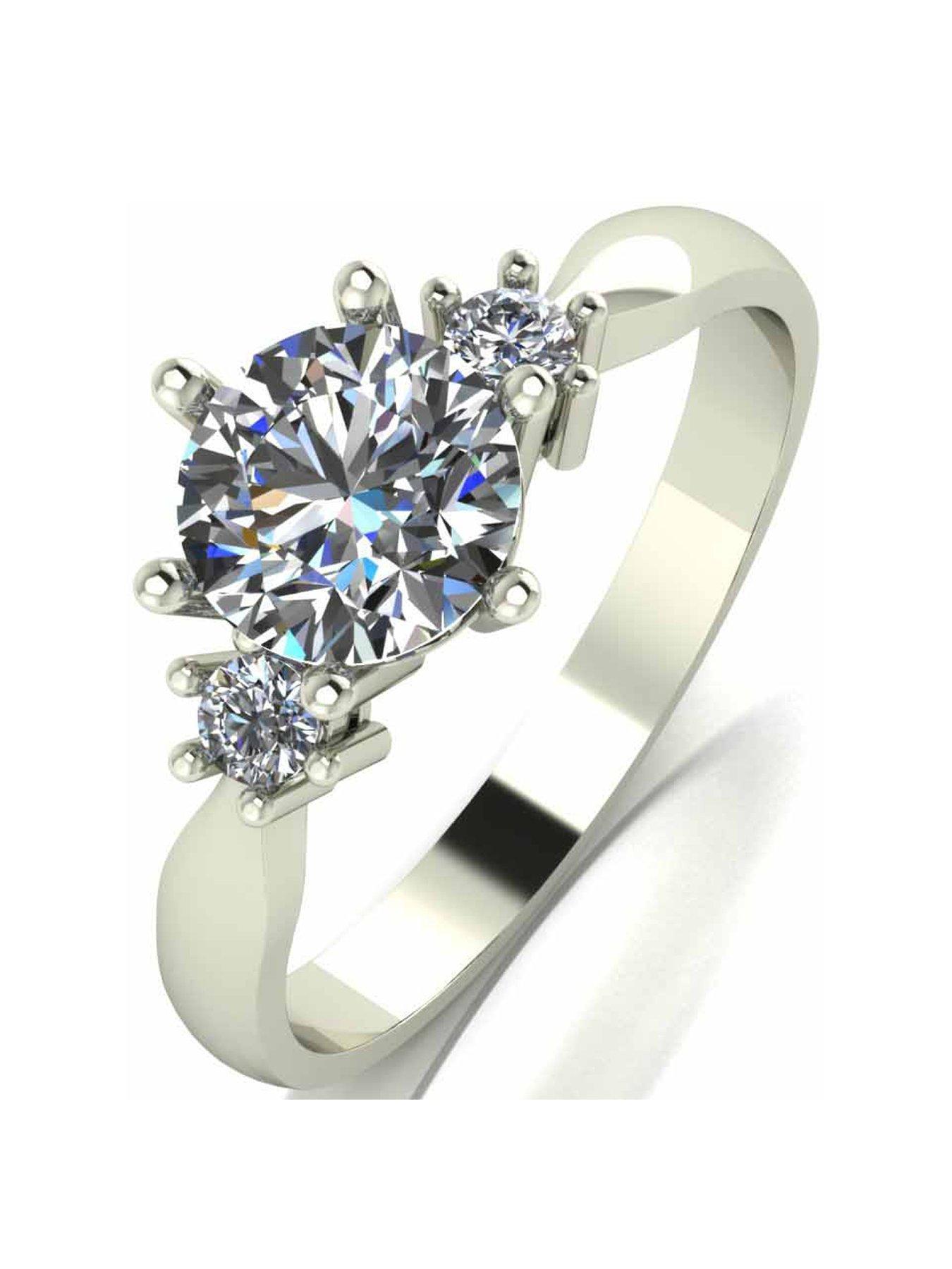 1ct Diamond Solitaire Engagement Princess Shoulder Set Ring 9ct Gold Size I-P UK