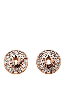 Guess Guess Crystal Detail And Rose Gold Plated Earrings Picture