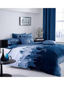 Catherine Lansfield Cityscape Duvet Cover And Pillowcase Set