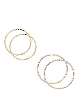 Love GOLD Love Gold 9 Carat Yellow Gold Set Of Two Crimped Tube Hoops Picture