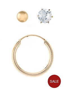 love-gold-9-carat-yellow-gold-mens-set-of-3-ball-stud-hoop-and-cubic-zirconia-earrings