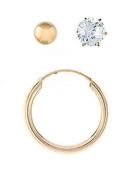 Love Gold 9 Carat Yellow Gold Mens Set Of 3 Ball Stud, Hoop And Cubic Zirconia Earrings