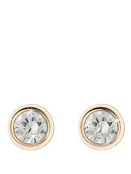 Love Gem 9 Carat Yellow Gold 5 Mm Round Cubic Zirconia Rubover Stud Earrings
