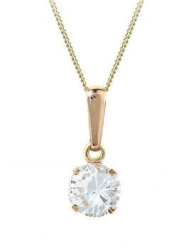 9ct gold round white cubic zirconia CZ solitaire pendant, chain. Gift box