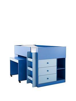 Ladybird Orlando Mid Sleeper Bed Desk And Storage  Bed Frame With Premium Mattress