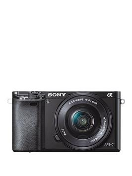 Sony Ilce6000 24.3 Megapixel Interchangeable Lens Digital Camera With Selp1650 And Sel55210 Lens Kit  Black