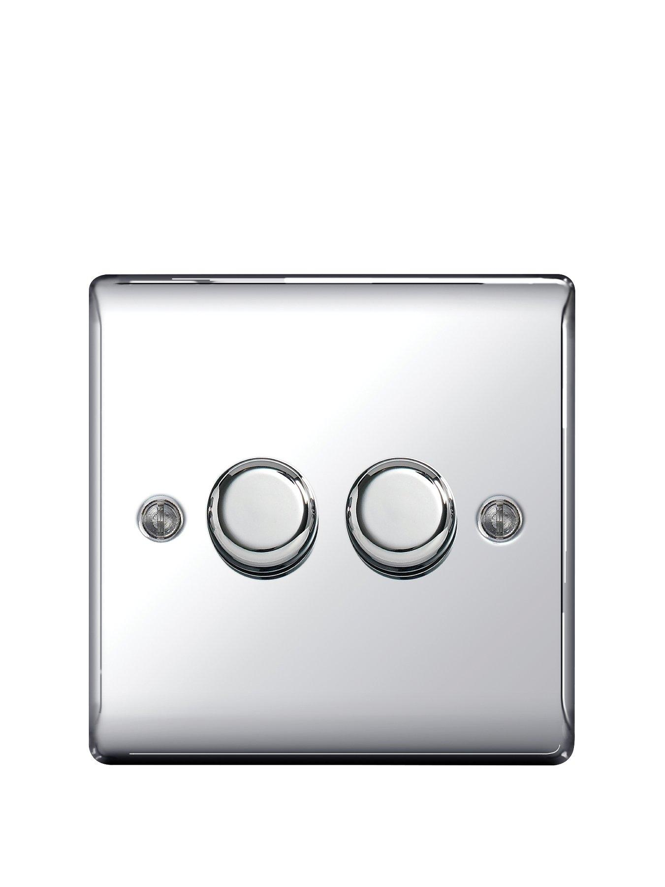 Compare prices for British General Electrical Raised 2G Dimmer Switch - Polished Chrome