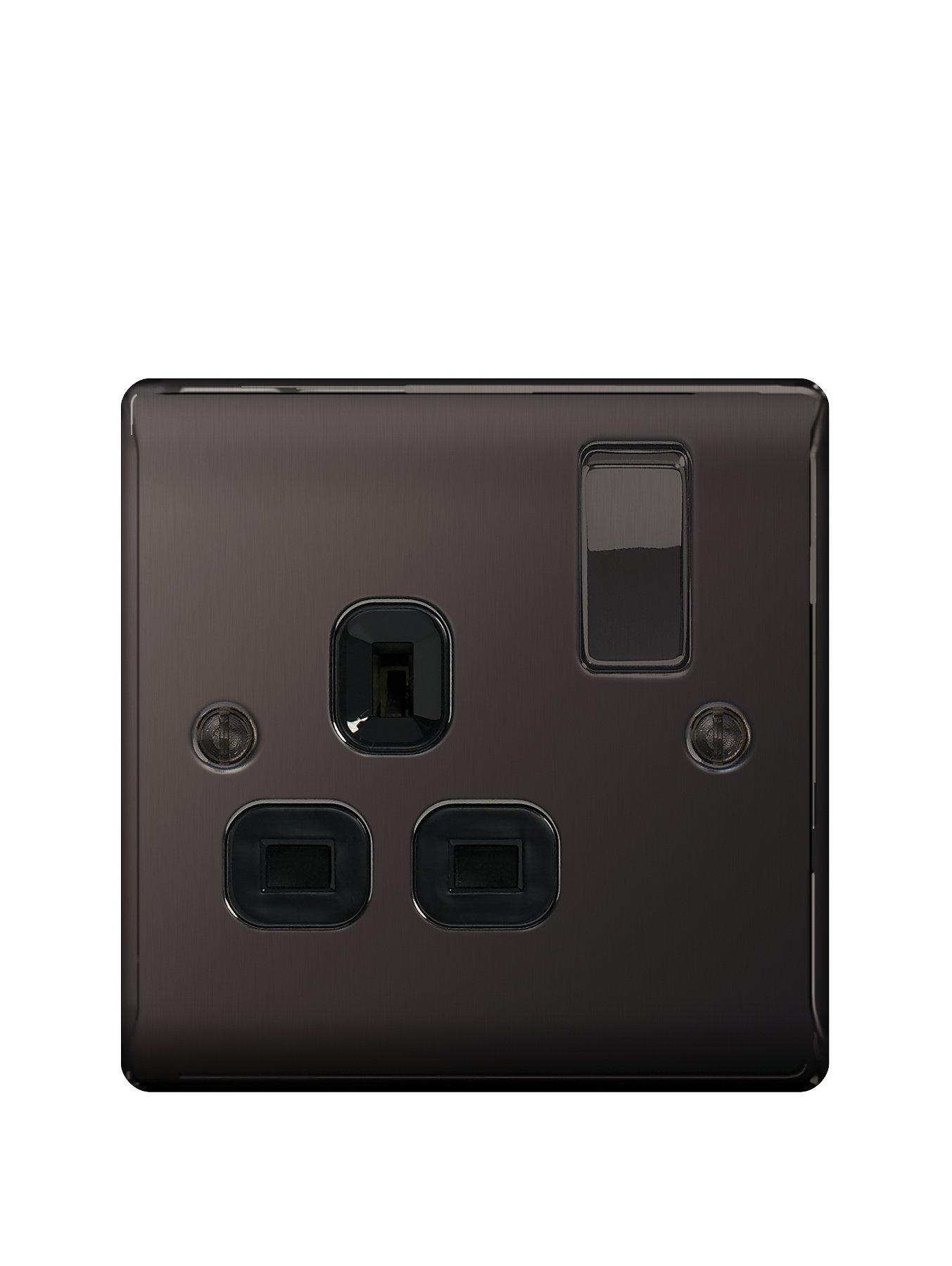 Compare prices for British General Electrical Raised 1G Switched Socket 13 Amp - Black Nickel