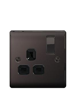 british-general-electrical-raised-1g-switched-socket-13-amp-black-nickel