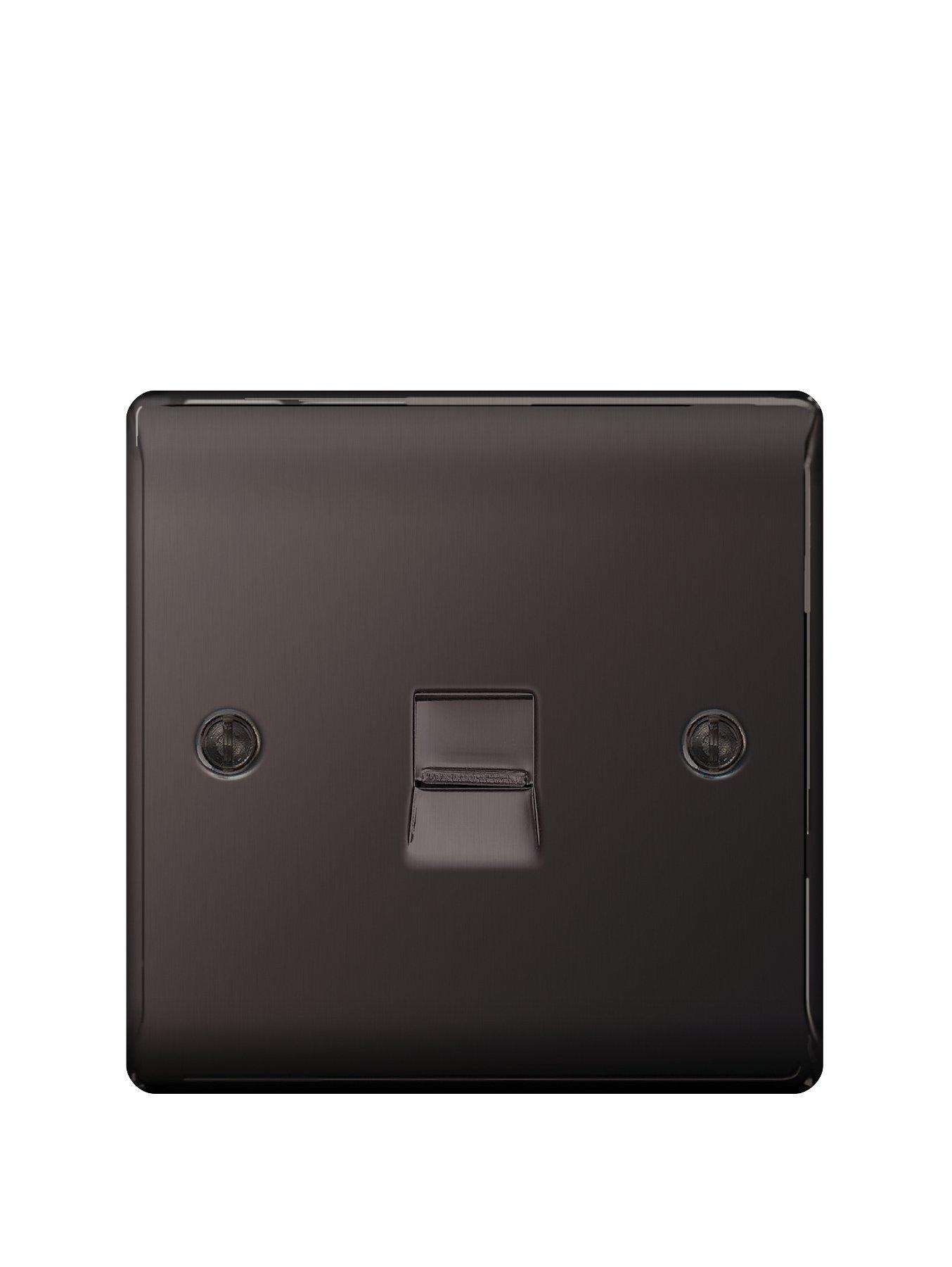 Compare prices for British General Electrical Raised Telephone Socket Point - Black Nickel