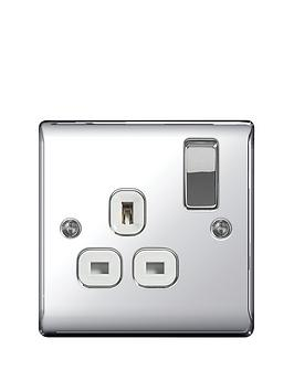 British General   Electrical Raised 1G Switched Socket (13 Amp) - Polished Chrome