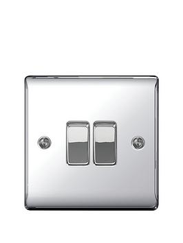 British General   Electrical Raised 2G 2-Way Switch - Polished Chrome