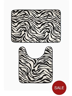 zebra-print-memory-foam-bathmat-and-pedestal-set