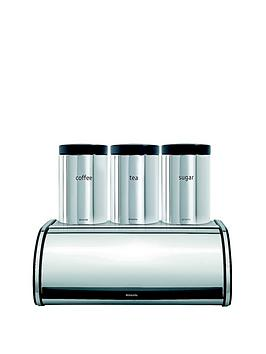 Brabantia Roll Top Bread Bin and Tea Coffee Sugar Canister Set
