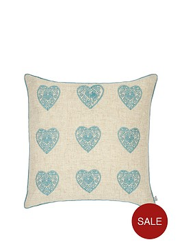 catherine-lansfield-vintage-hearts-cushion-in-duck-egg
