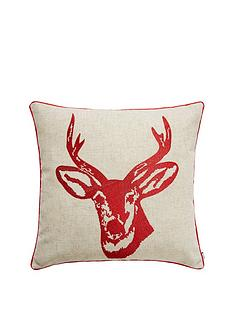catherine-lansfield-stags-head-silhouette-cushion-red