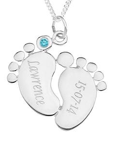 the-love-silver-collection-personalised-sterling-silver-cubic-zirconia-set-baby-feet-pendant