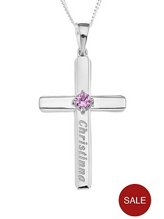 the-love-silver-collection-personalised-sterling-silver-birthstone-cross-pendant