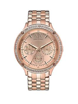 Armani Exchange Rose Gold Dial Rose Gold Ip Plated Bracelet Ladies Watch