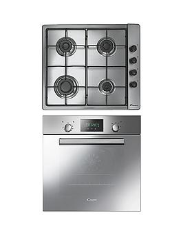 Candy Acom609Xm BuiltIn Single Fan Oven With Clg64Spx 60Cm Gas Hob Pack  Stainless Steel