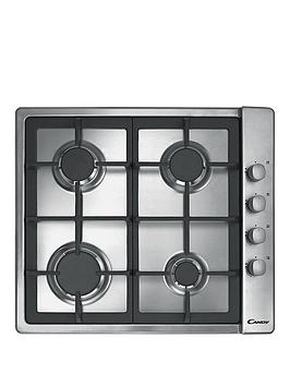 Candy Clg64Sgx 60Cm 4 Burner Gas Hob With Cast Iron Pan Supports And Side Control Knobs  Stainless Steel