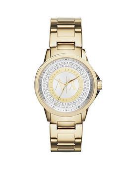 Armani Exchange Gold And Silver Dial With Gold Ip Plated Bracelet Ladies Watch