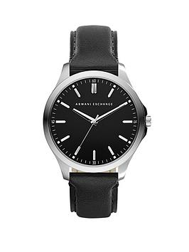 Armani Exchange Black Dial and Black Leather Strap Mens Watch