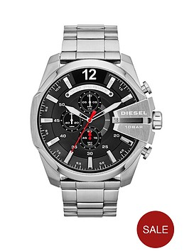 e10a7aa18 Diesel Mega Chief Chronograph Black Dial and Stainless Steel Bracelet Mens  Watch   littlewoods.com