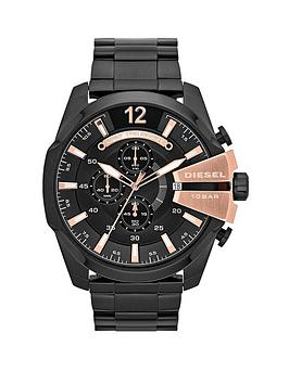Diesel Mega Chief Chronograph Black and Rose Gold Dial with Stainless Black IP Bracelet Mens Watch