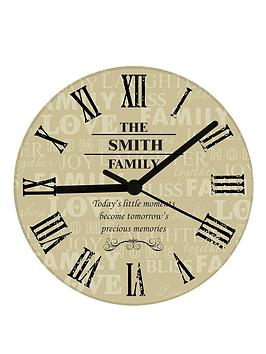 Very Personalised Family Design Glass Wall Clock Picture