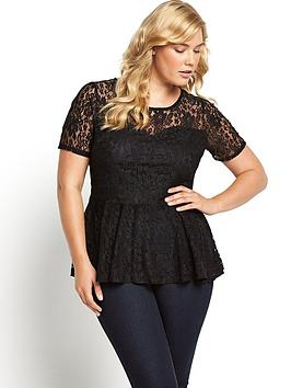 V By Very Curve Lace Peplum Top