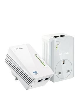 Tp Link Av600 Powerline With PassThrough And 300Mbps WiFi White