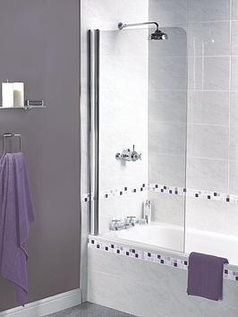 Product photograph showing Aqualux Shine Half Framed Radius Bath Shower Screen - 1500 X 850mm