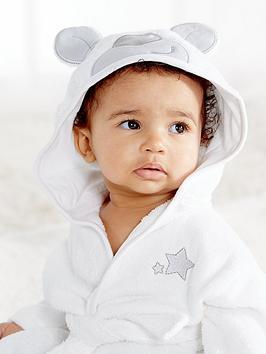 Ladybird Baby Unisex Terry Towelling Bath Robe With Bear Applique Hood And Mitt Set (2 Piece)