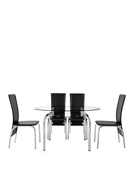Very Varezze 130Cm Glass Dining Table + 4 Chairs Picture