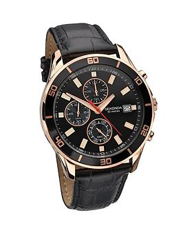 sekonda-chronograph-rose-gold-tone-and-black-leather-strap-mens-watch