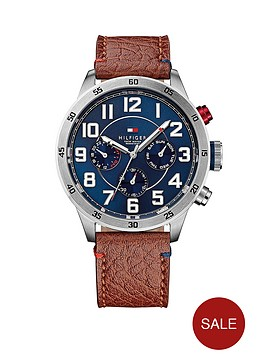 tommy-hilfiger-multi-function-stainless-steel-brown-leather-strap-mens-watch