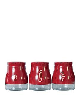 Sabichi Red 3 Piece Kitchen Canister Set