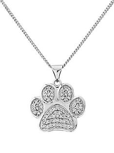 the-love-silver-collection-pawprints-sterling-silver-cubic-zirconia-pendant-with-message-only-true-friends-leave-pawprints-on-your-heart
