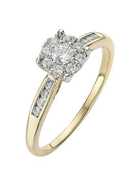 Love DIAMOND Love Diamond 9 Carat Yellow Gold 28 Point Cluster Ring With  ... Picture