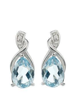 Love GEM Love Gem Sterling Silver Blue Topaz Diamond Set Drop Earrings Picture