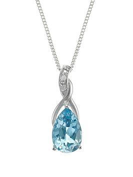 Love GEM Love Gem Sterling Silver Blue Topaz Diamond Set Drop Pendant Picture