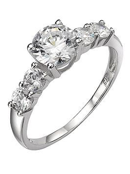 Love GOLD Love Gold 9 Carat White Gold Cubic Zirconia Ring With Stone-Set  ... Picture