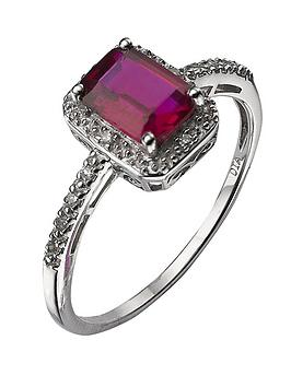 Love GEM Love Gem 9 Carat Gold 6 Point Diamond And Ruby Ring Picture
