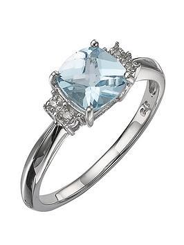 Love GEM Love Gem 9 Carat White Gold Diamond-Set Blue Topaz Ring Picture