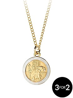 love-gold-9-carat-rolled-gold-two-tone-st-christopher-pendant