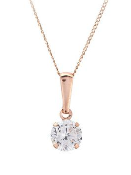 Love GOLD Love Gold 9 Carat Rose Gold 6Mm Cubic Zirconia Solitaire Pendant Picture